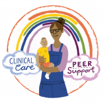Illustration of a mum holding her baby with a rainbow above her