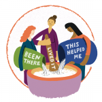 Illustration of 3 women with lived experience of perinatal mental health problems pouring ingredients into a big pot and stirring