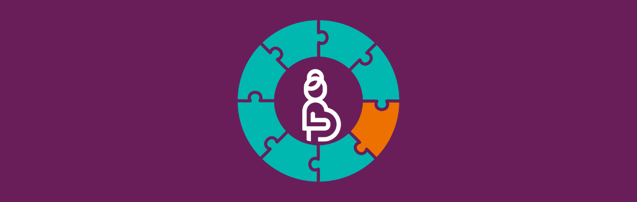 Circular puzzle with piece highlighted in the middle and a picture of a pregnant woman in the middle