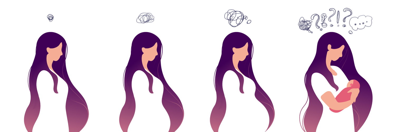 Drawing of a woman through each stage of her pregnancy as her worries grow louder