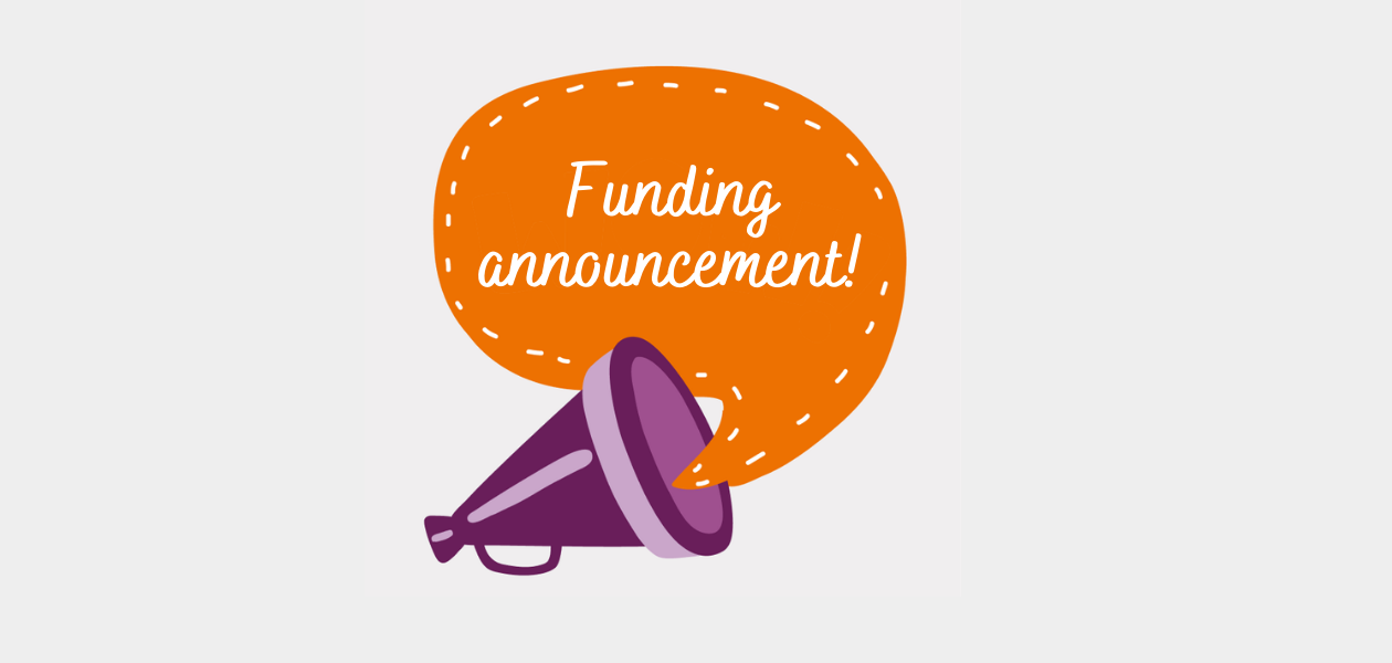 Megaphone with the words 'funding announcement'
