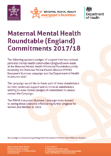 MMHA Maternal Mental Health Roundtable Commitments 2017-18