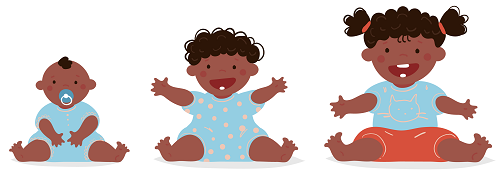 Drawing of a baby, infant and toddler smiling and holding their arms out