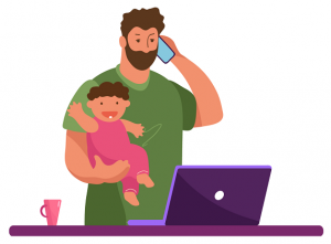 Drawing of a mean holding a baby while looking at a laptop and calling someone on the phone
