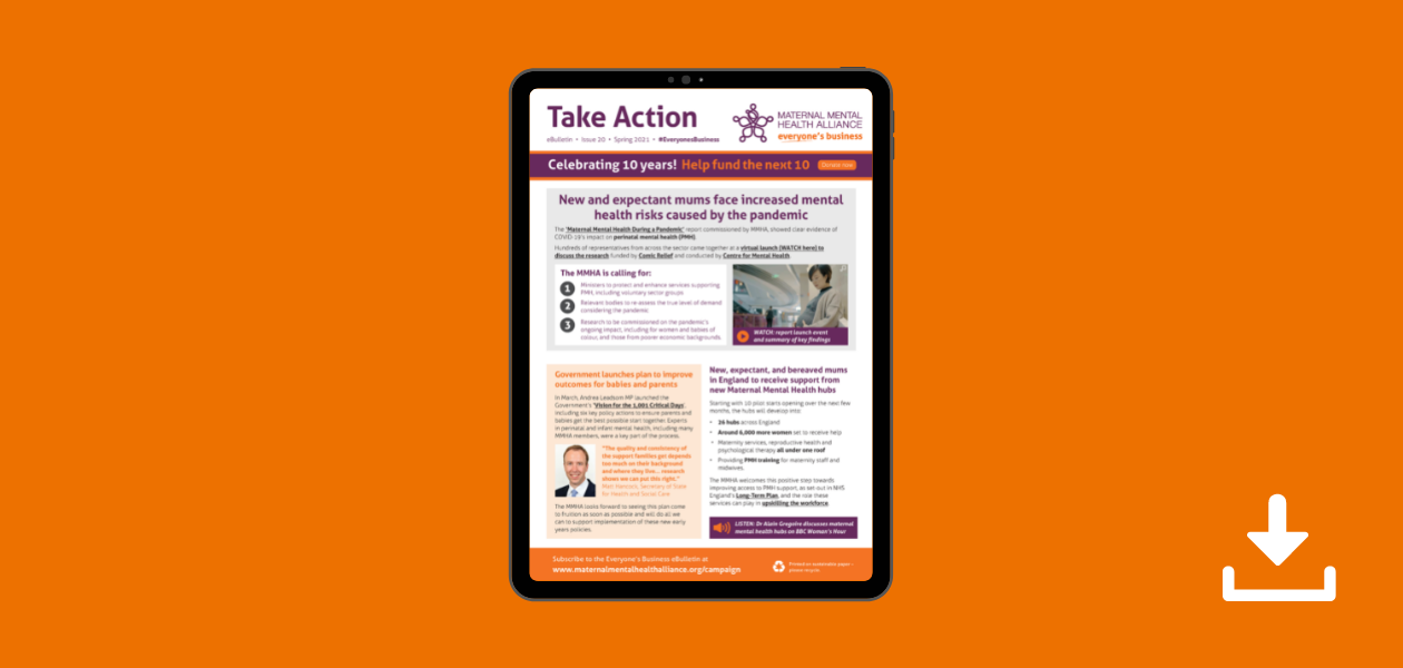 Front page of the Spring 21 MMHA Everyone's Business eBulletin on a tablet with the download symbol