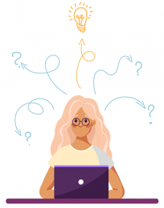 Drawing of a woman sat at a laptop looking confused