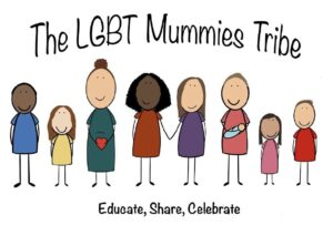 LGBT Mummies Tribe logo featuring illustrated mothers, parents, children and babies standing together in a row