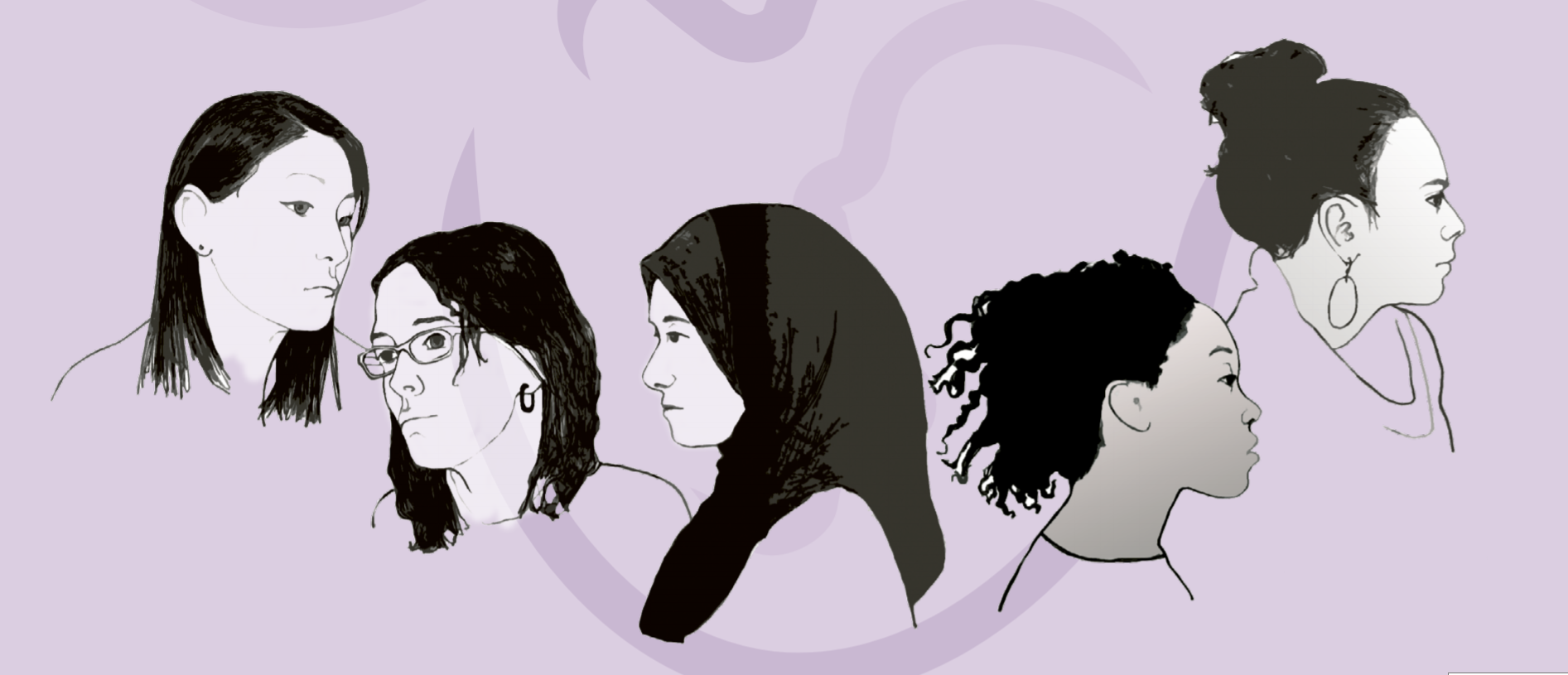 Illustration of five different women