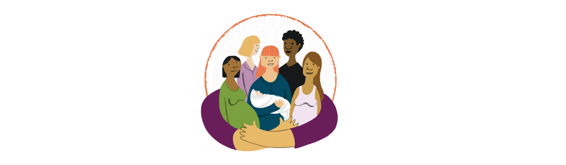 Illustration of a group of women, some pregnant, some holding babies, wrapped in a pair of safe arms