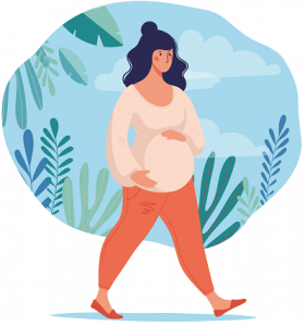 Drawing of a heavily pregnant woman taking a walk in the park while holding her baby bump