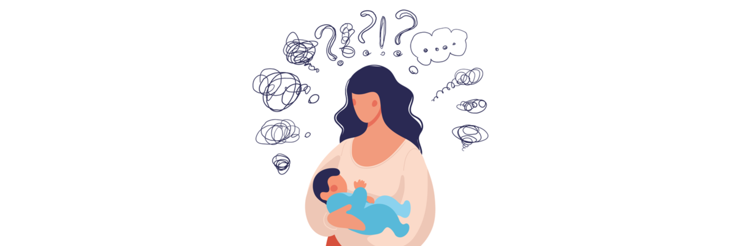 Drawing of a woman holding a small baby with question marks and exclamations all around her